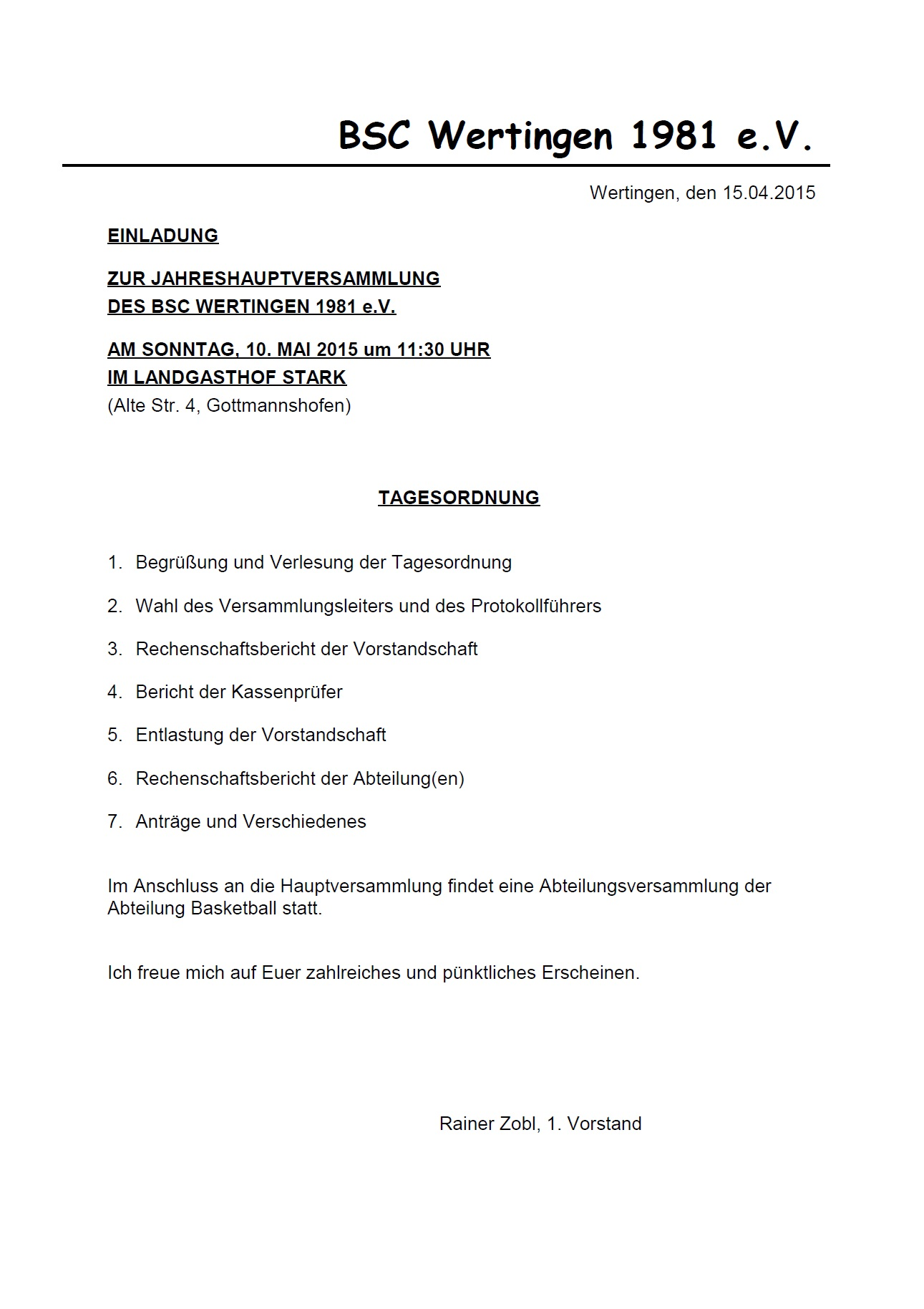 Einladung HV 2015